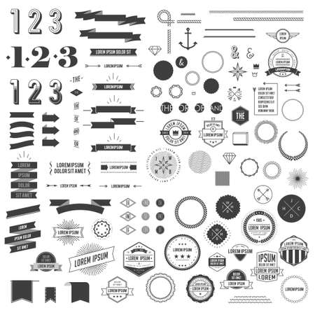 Ilustración de Hipster style infographics elements set for retro design. With ribbons, labels, rays, numbers, arrows, borders and diamond. Vector illustration - Imagen libre de derechos