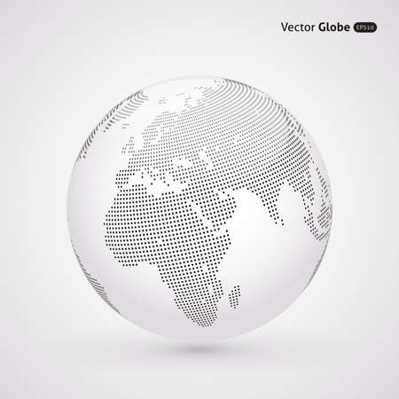 Illustration pour Vector dotted light globe, Central heating view on Europe and Africa - image libre de droit