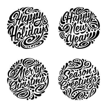 Set of Christmas calligraphic elements. illustration