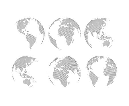 Illustration pour Set of abstract dotted globes. Six globes, including a view of the Americas, Asia, Australia, Africa, Europe and the Atlantic - image libre de droit