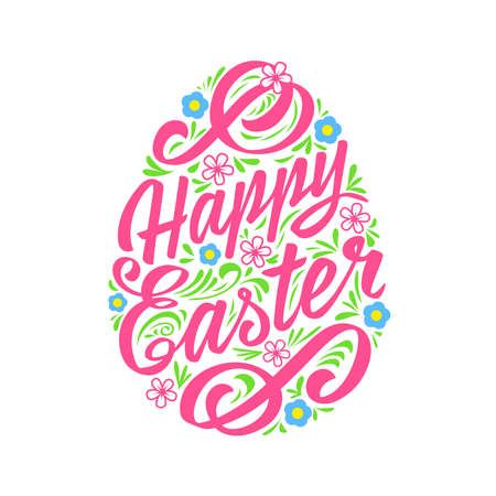 Illustration for Happy Easter greeting Card, Lettering. Typography Inscription - Royalty Free Image