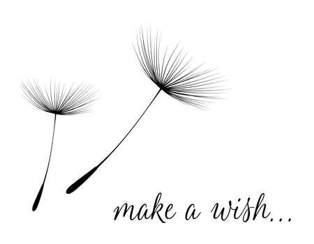 Illustration pour Make a wish card with dandelion fluff. illustration - image libre de droit