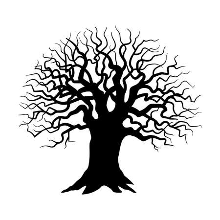 Illustration pour Tree silhouette on white background, Sinister, gloomy tree - Vector - image libre de droit