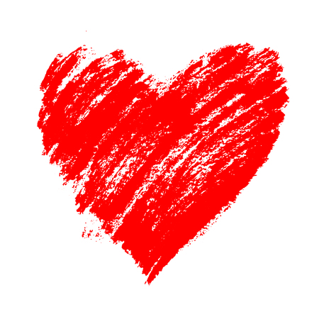 Illustration for Red grunge hand drawn heart with splashes and brush strokes. Symbol of love and valentine's day. Vector element for holiday design, isolated on white. - Royalty Free Image