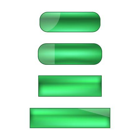 vector web buttons set - green