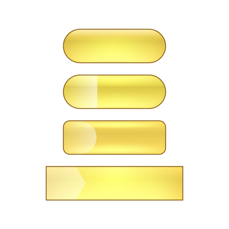 vector bright glossy web buttons set - golden