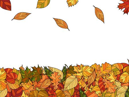 Illustration for wide vector autumn background - falling leaves - Royalty Free Image