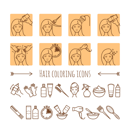 Hair coloring process. Thin line icons for your design