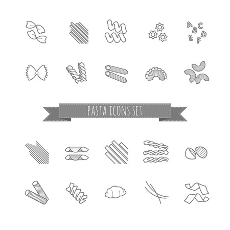 set of various pasta shapes for your design