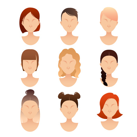 set of women faces with different hairstyles for your design