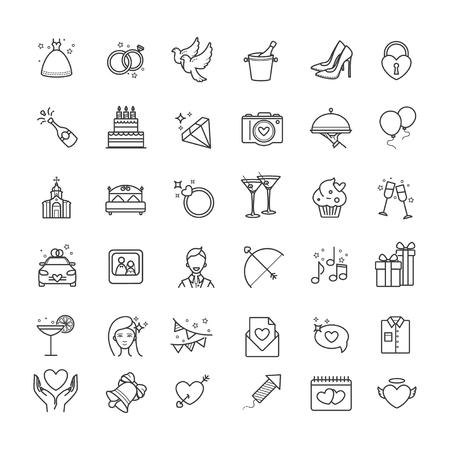 Illustration pour Outline set- wedding, love vector icons - image libre de droit