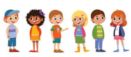 Illustration for Children school  vector set. Boys and girls laugh and play. The black-skinned woman is beautiful, red-haired, blonde, fair-haired. Cartoon characters are standing. Illustration funny clipart cute - Royalty Free Image