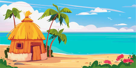 Illustration pour Bungalow on Maldives island with palm trees and tropical flowers, resort water villas vector banner. A hut by the ocean, summer. Thailand vacation. Hawaii resort. Template for text - image libre de droit