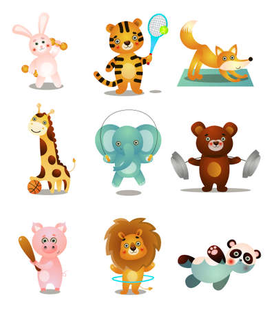 Photo for Set of cute colorful playing animals, in different sport outdoor activities. Cartoon style. Vector illustration on white background - Royalty Free Image