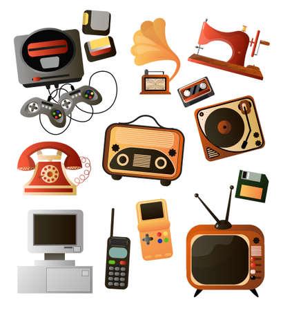 Illustration pour Set of different home retro objects and electronic devices - image libre de droit