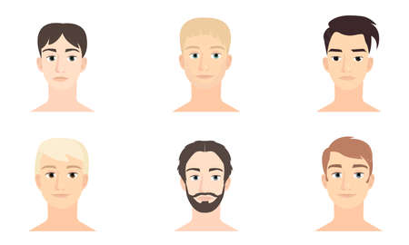 Illustration pour Set of male faces with different hairstyles and face expressions vector illustration - image libre de droit