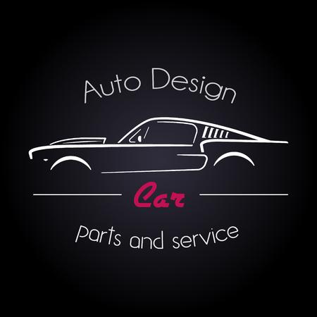 Ilustración de Auto Company Logo Design Concept with classic American style sports Car Silhouette on black background. Vector illustration. - Imagen libre de derechos