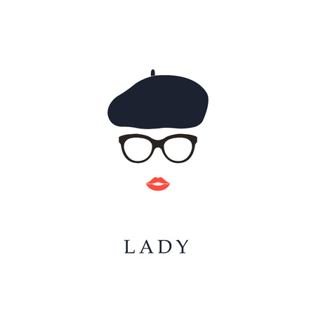 Illustration for Beautiful trendy French woman wearing glasses and beret. Fashion girl portrait. - Royalty Free Image