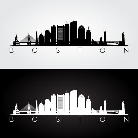Illustration for Boston USA skyline and landmarks silhouette, black and white design, vector illustration. - Royalty Free Image