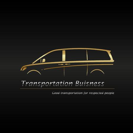 Illustration pour Business card template. Modern gold minivan in black background buisness logo. Vector illustration. - image libre de droit