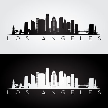 Illustration for Los Angeles USA skyline and landmarks silhouette, black and white design, vector illustration. - Royalty Free Image