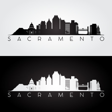Illustration for Sacramento USA skyline and landmarks silhouette, black and white design, vector illustration. - Royalty Free Image