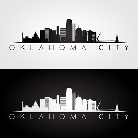 Illustration pour Oklahoma City USA skyline and landmarks silhouette, black and white design, vector illustration. - image libre de droit
