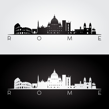 Rome skyline and landmarks silhouette, black and white design, vector illustration.