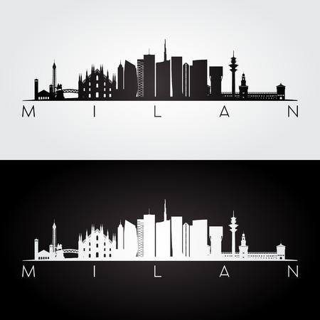 Illustration pour Milan skyline and landmarks silhouette, black and white design, vector illustration. - image libre de droit