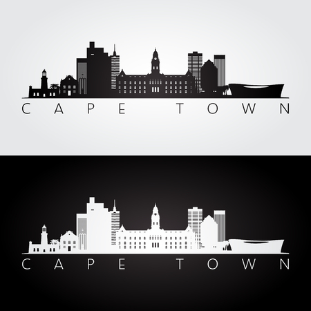 Illustration for Cape Town skyline and landmarks silhouette, black and white design, vector illustration. - Royalty Free Image