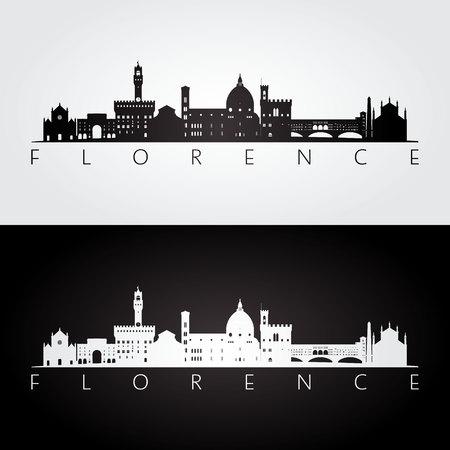 Ilustración de Florence skyline and landmarks silhouette, black and white design, vector illustration. - Imagen libre de derechos