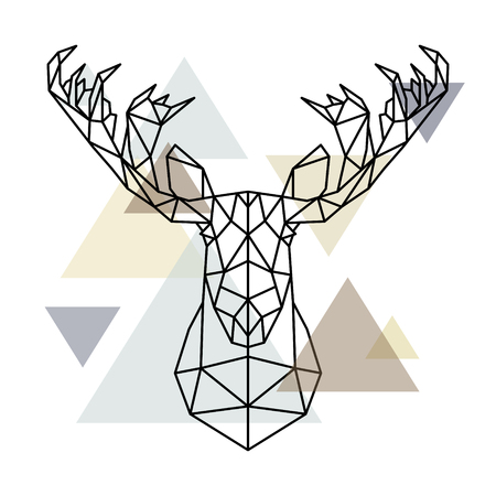 Ilustración de Moose head, geometric lines silhouette isolated on scandinavian background. Polygonal style. Scandinavian style. - Imagen libre de derechos