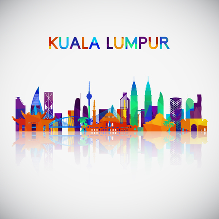 Foto per Kuala Lumpur skyline silhouette in colorful geometric style. Symbol for your design. Vector illustration. - Immagine Royalty Free