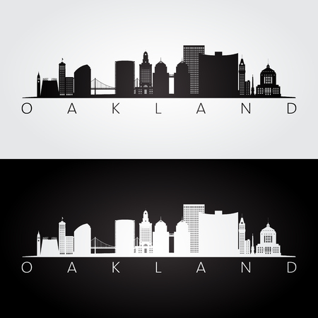 Illustration for Oakland, USA skyline and landmarks silhouette, black and white design, vector illustration. - Royalty Free Image