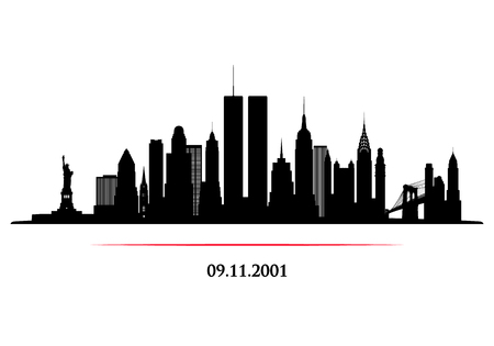 Illustration pour New York City Skyline with twins tower. World Trade Center. 09.11.2001 American Patriot Day anniversary banner. Vector illustration. - image libre de droit
