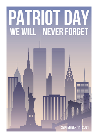 Illustration pour Patriot Day poster with New York skyline,Twin Towers and phrase We will never forget. USA Patriot Day banner. September 11, 2001. World Trade Center. Vector design template. - image libre de droit