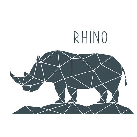 Ilustración de Polygonal Rhino Illustration. Geometric poster with wild animal and lettering. Vector design template. - Imagen libre de derechos