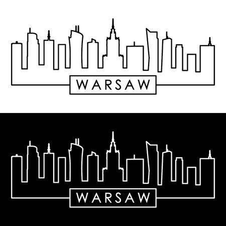 Warsaw skyline. Linear style. Editable vector file.