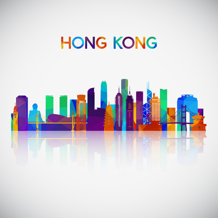 Illustration pour Hong Kong skyline silhouette in colorful geometric style. Symbol for your design. Vector illustration. - image libre de droit