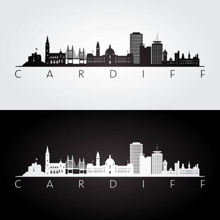 Illustration pour Cardiff skyline and landmarks silhouette, black and white design, vector illustration. - image libre de droit