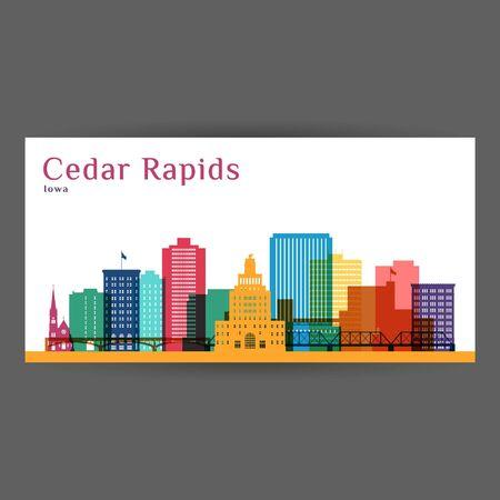 Illustration for Cedar Rapids colorful architecture vector illustration, skyline city silhouette, skyscraper, flat design. - Royalty Free Image