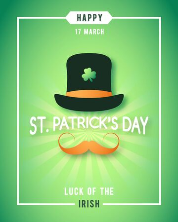 Illustration for St. Patricks Day luck of the irish poster design. Irishman with hat and red mustache concept design. Vector banner. - Royalty Free Image