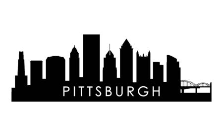 Illustration pour Pittsburgh Pennsylvania skyline silhouette. Black Pittsburgh city design isolated on white background. - image libre de droit