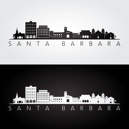 Illustration pour Santa Barbara, California skyline and landmarks silhouette, black and white design, vector illustration. - image libre de droit