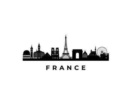 Illustration pour Vector France skyline. Travel France famous landmarks. Business and tourism concept for presentation, banner, web site. - image libre de droit