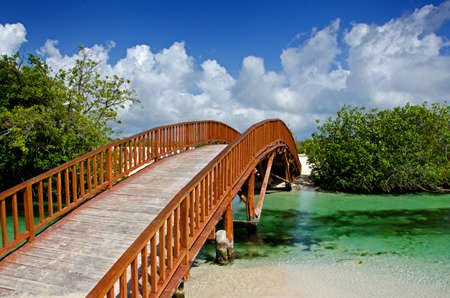 Image of an arched wooden bridge spanning over a small natural river flowing into the ocean