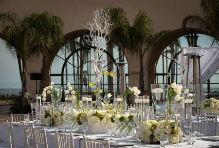 a beautifully decorated wedding table