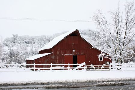 Big red barn in the snow