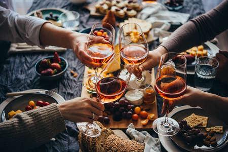 Photo pour Glasses of rose wine seen during a friendly party of a celebration. - image libre de droit