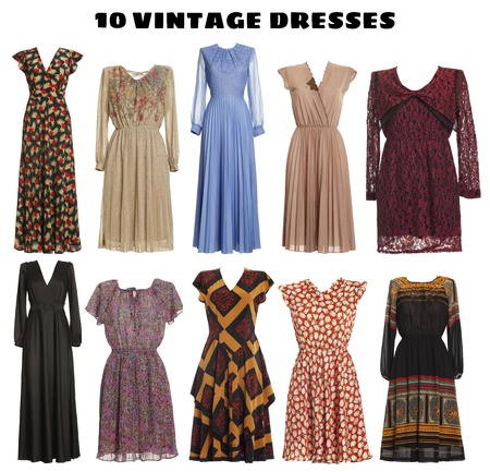 Photo pour 10 beautiful Dresses isolated - Vintage look - image libre de droit